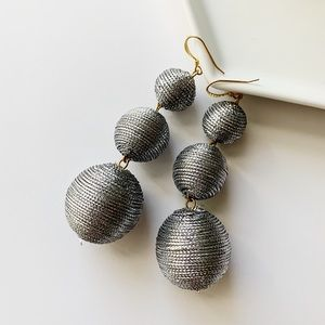 Kenneth Jay Lane 3 Tier Ball Drop Earrings